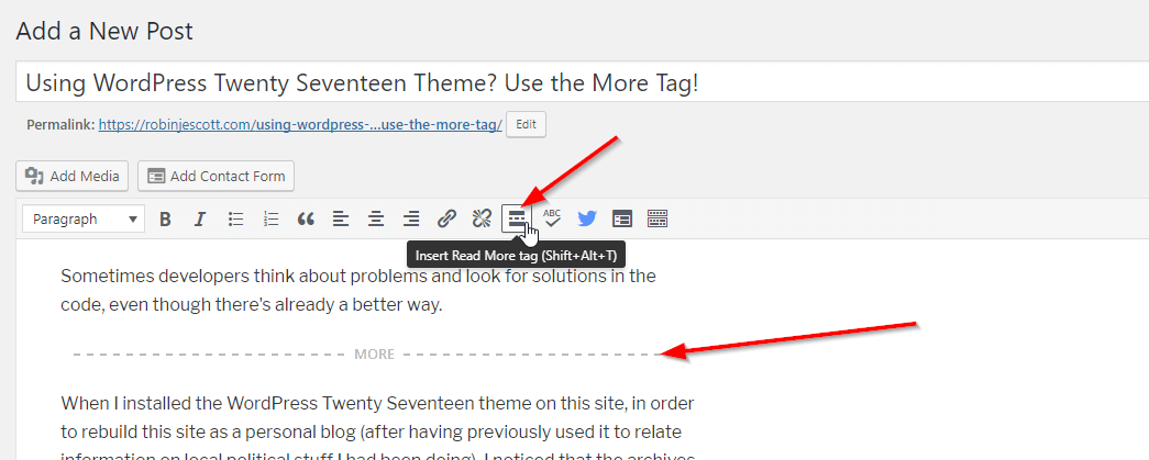 Screenshot of WordPress Twenty Seventeen theme more tag in visual editor